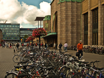 Bicycles by the train station, Helsinki, Finland