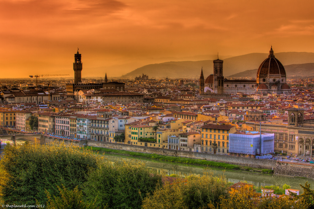 Sunset over the city of Florence including the Duomo
