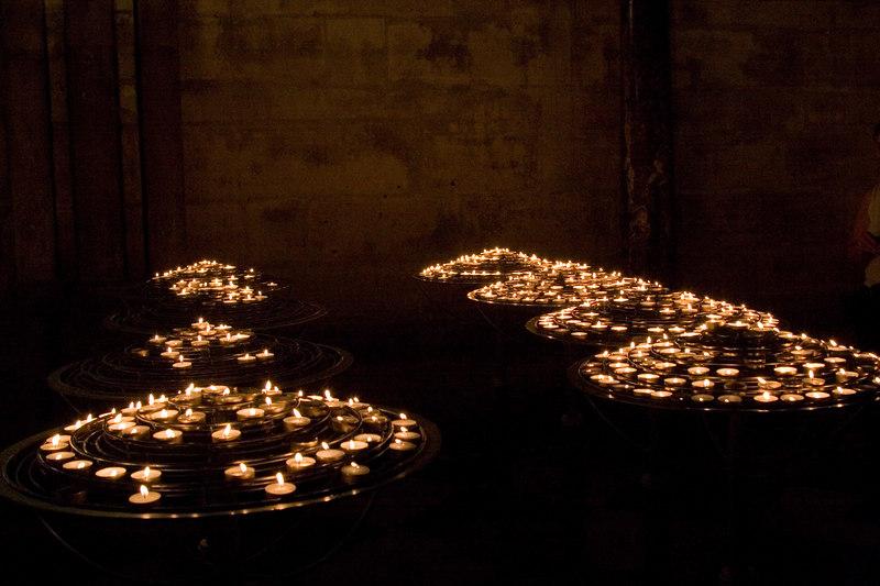 Candles inside Notre Dame