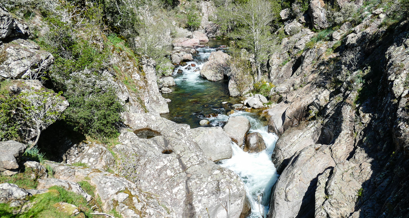 rocky gorge with waterfall