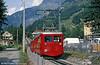 Railcar 43 of the Chemin de fer de Chamonix au Montnevers, built in 1954, at Chamonix in August 1988.