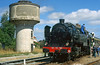 Former SNCF 2-8-2T 141TD740 pauses for water at Chateauneuf-Bujaleuf on the Limoges-Ussel line.