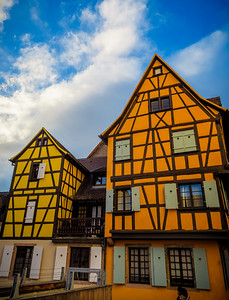 Amazing colors in these typical Alsatian houses against a stunning blue sky beautified by the late afternoon lightning.