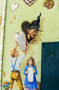 Hansel and Gretel paintings on the gingerbread factory display the German influence.