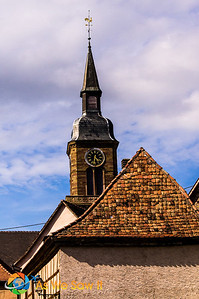 Church steeple at the center of town.
