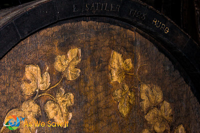 Detailed woodwork on wine barrell
