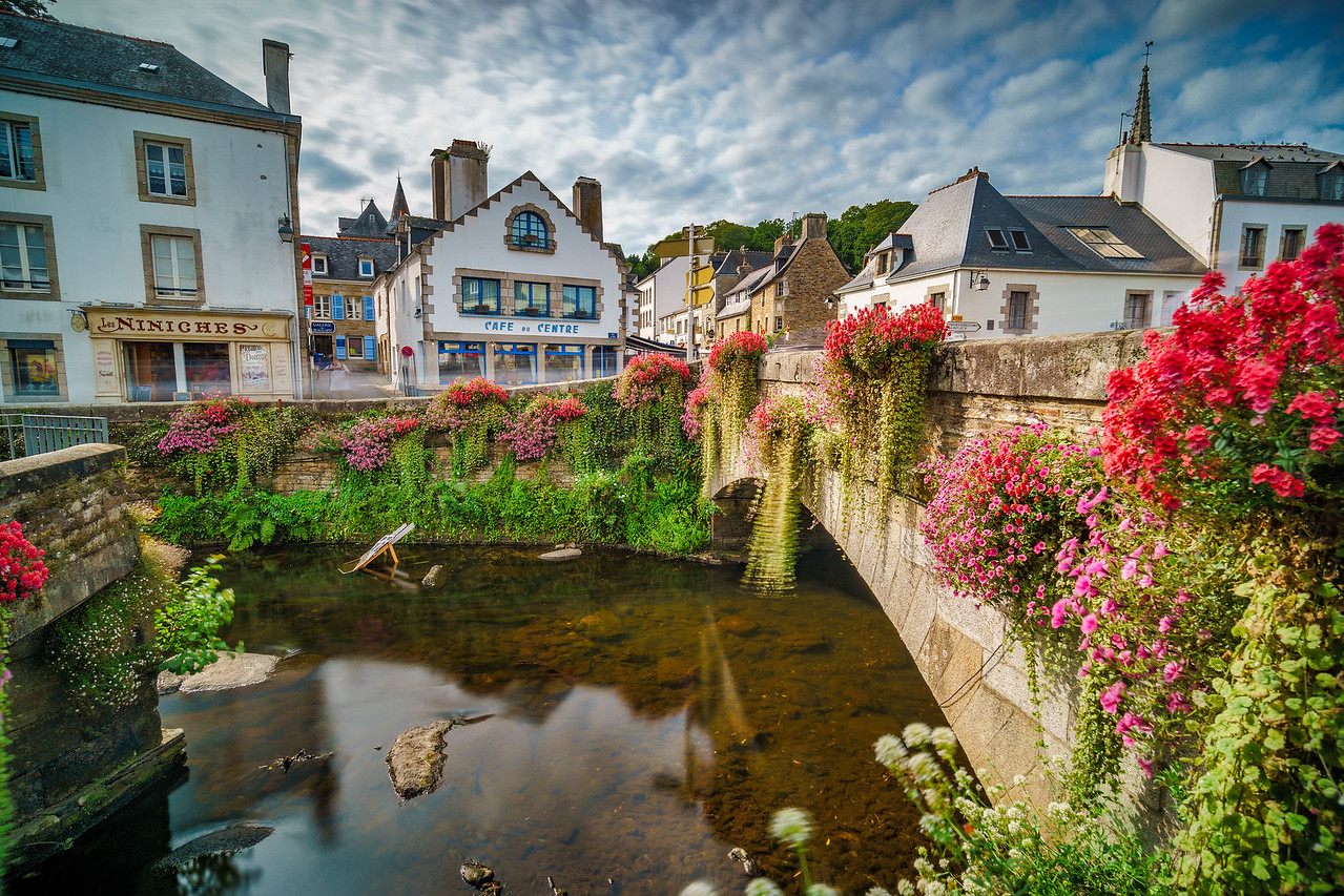 Picturesque Pont-Aven around Aven River.