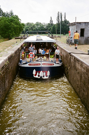 Burgundy - Barge in Lock on Central Canel