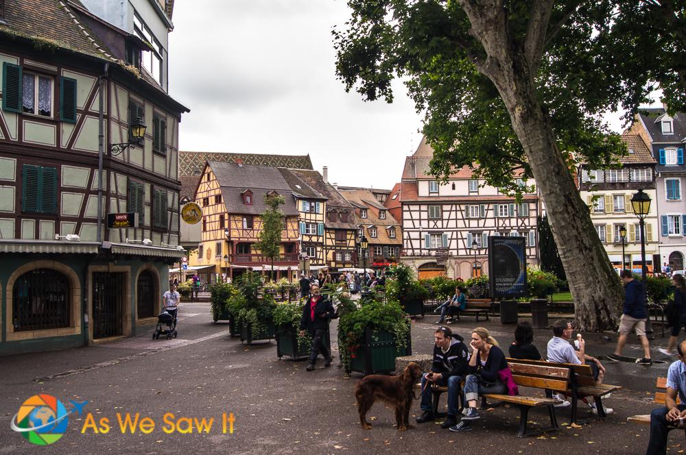 Charming square in Colmar, France.