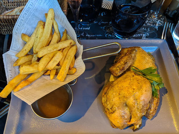 Half a chicken means half a full-sized chicken! So crispy, moist and delicious, though.