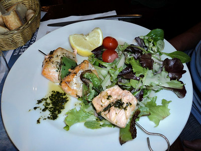 "Salmon Skewers. Served in ""Brasserie Le Tramway"" in Lyon  09/06/14"