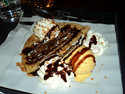 "Crêpe - Nutella, chocolate chips, a scoop of ice cream, vanilla, chocolate sauce, whipped cream.  Served in ""Au Bureau""  07/06/14"