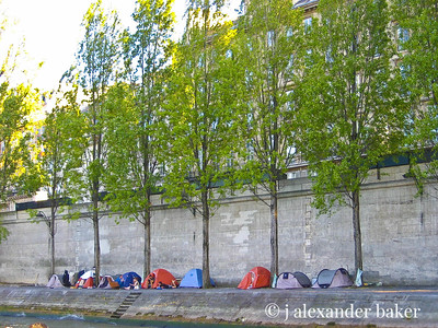 Camping along the Seine Embankment