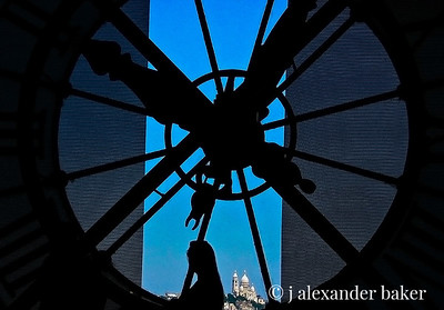 In Time - Musee D'Orsay Clock with Sacre Coeur in the distance darker version
