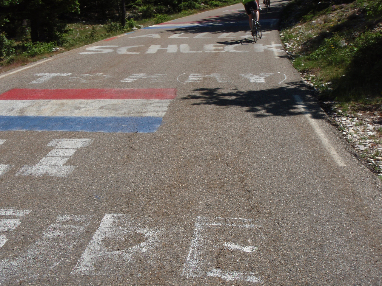 They paint the roads when the tour goes through.  Here is an homage to Luxembourgers.