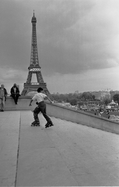 Eiffel Tower and Roller Blader - Paris, France