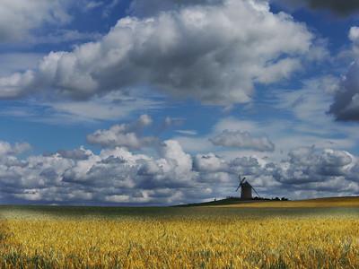 Windmill near Mont-Saint-Michel, Normandy, France.