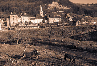 Baume-les-Messieurs Village and its iconic Abbey in the background.