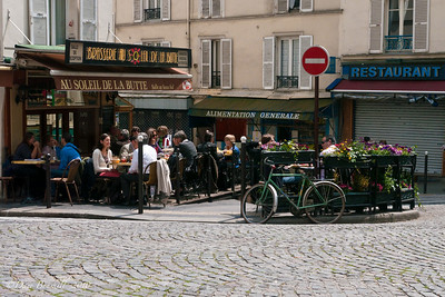 A typical street cafe in Montmartre, Paris, France