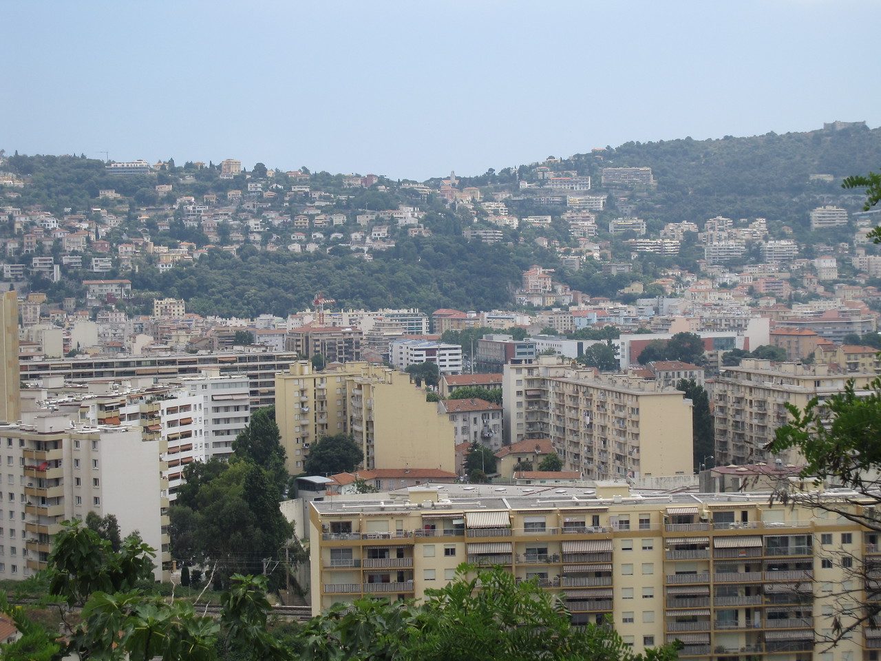 Overlooking view of the city skyline in Nice, France