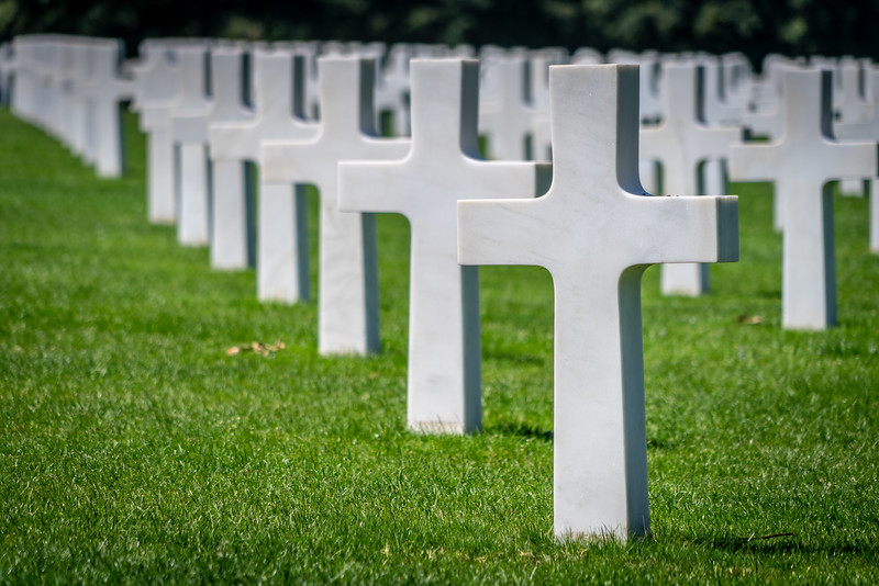 Crosses at the American Cemetery in Normandy, France