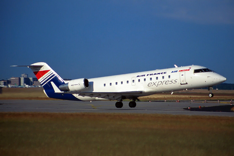 "F-GLIZ Canadair Regional Jet 100ER ""Air Littoral"" c/n 7057 Frankfurt/EDDF/FRA 08-06-97 ""Air France/Air Inter Express"" (35mm slide)"