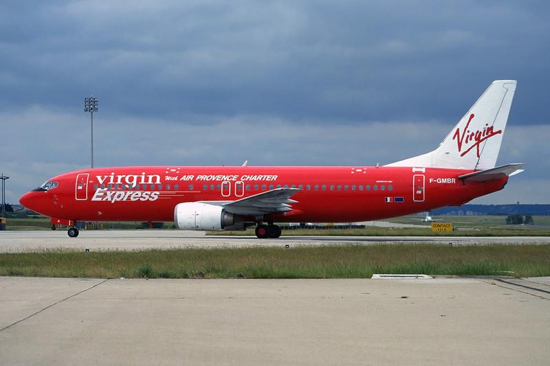 "F-GMBR Boeing 737-4Y0 ""Virgin Express/Air Provence Charter"" c/n 24314 Paris-Charles De Gaulle/LFPG/CDG 14-06-97 (35mm slide)"
