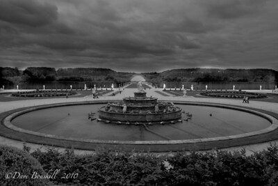 Main fountain of the Palace of Versailles, France in Black and White