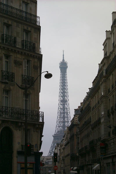 Eiffel Tower and City Street, Paris