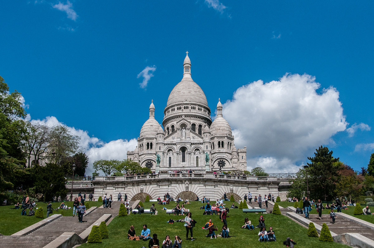 Outside the Basilica of Sacre Coeur in Paris, France