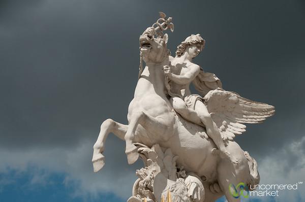 Louvre Statue Against Black Sky - Paris