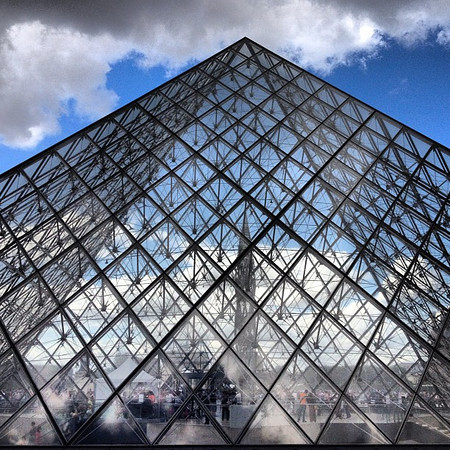 Louvre pyramid, finding an angle, #Paris #lovingthemoment