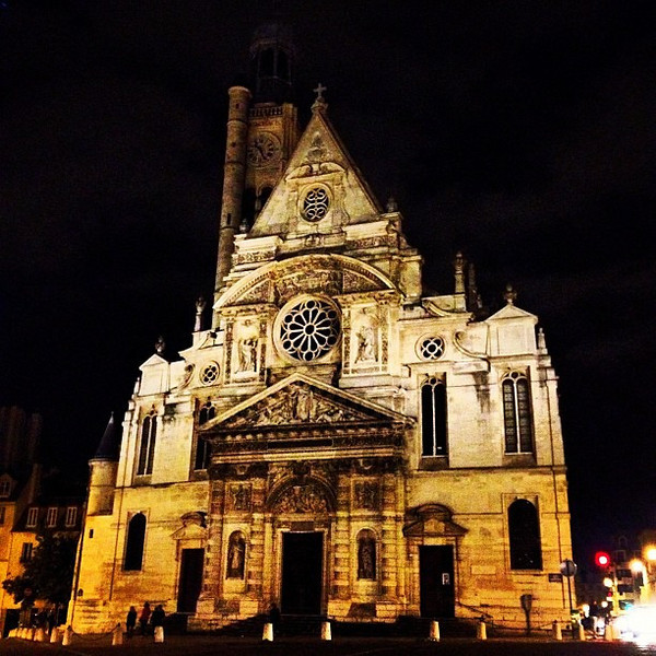 St. Etienne-du-Mont at night, Quartier Latin, Paris #lovingthemoment