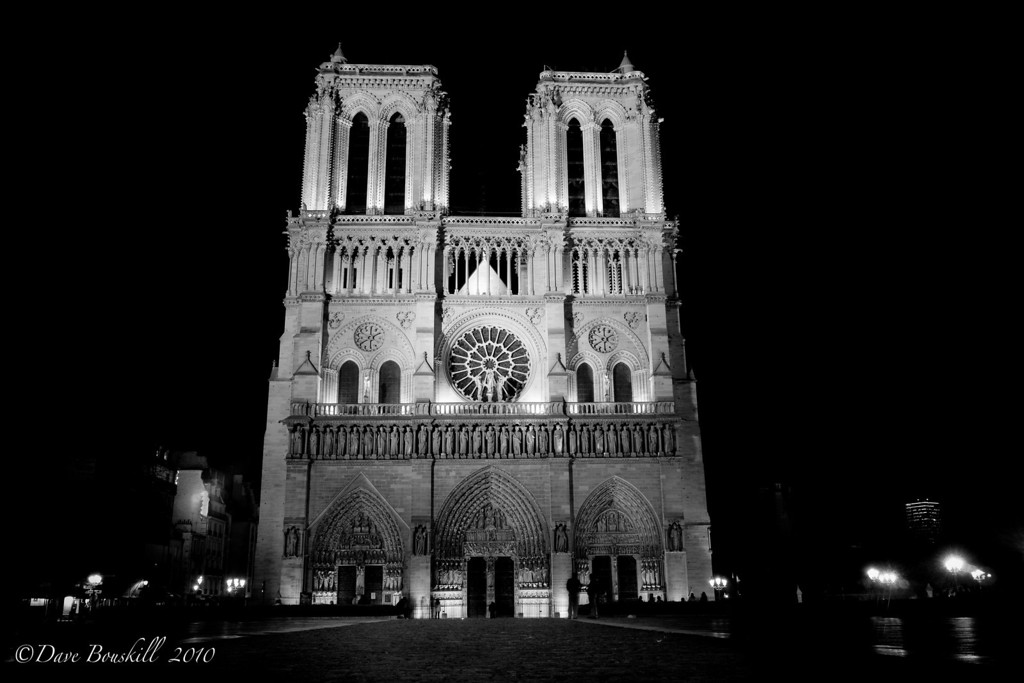 Black and White of Notre Dame in Paris France