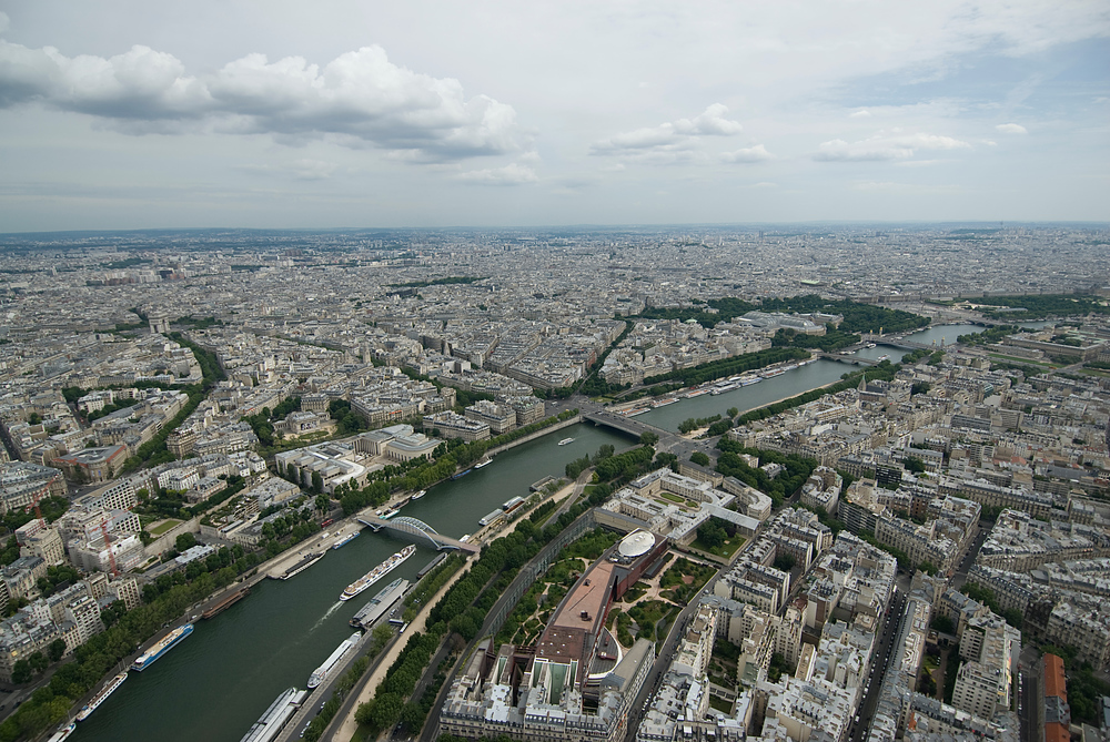 Paris and the River Seine as seen from the Eiffel Tower