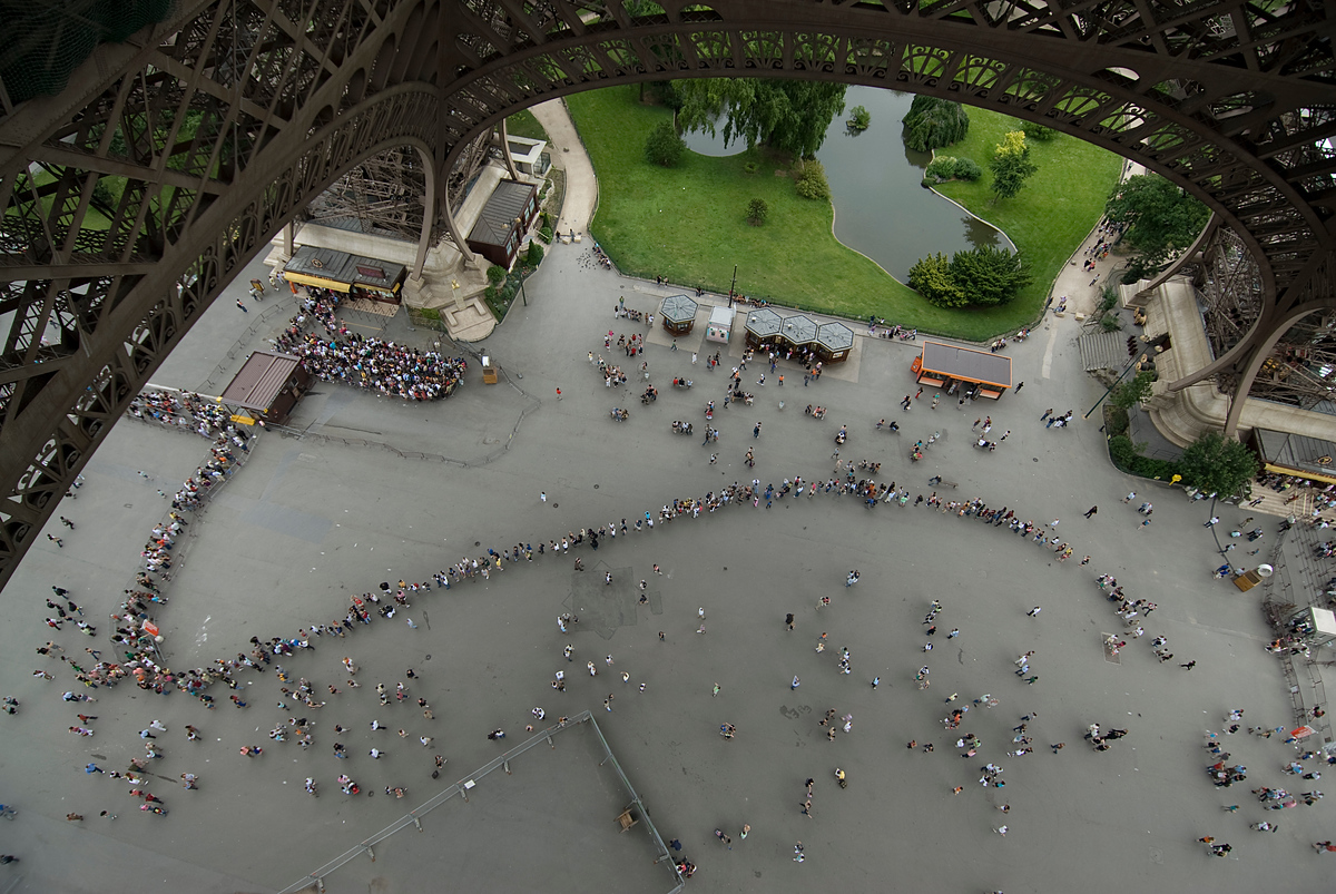 The line for the elevator at the Eiffel Tower