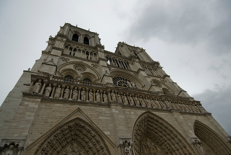 Looking up the Notre Dame Cathedral in Paris, France