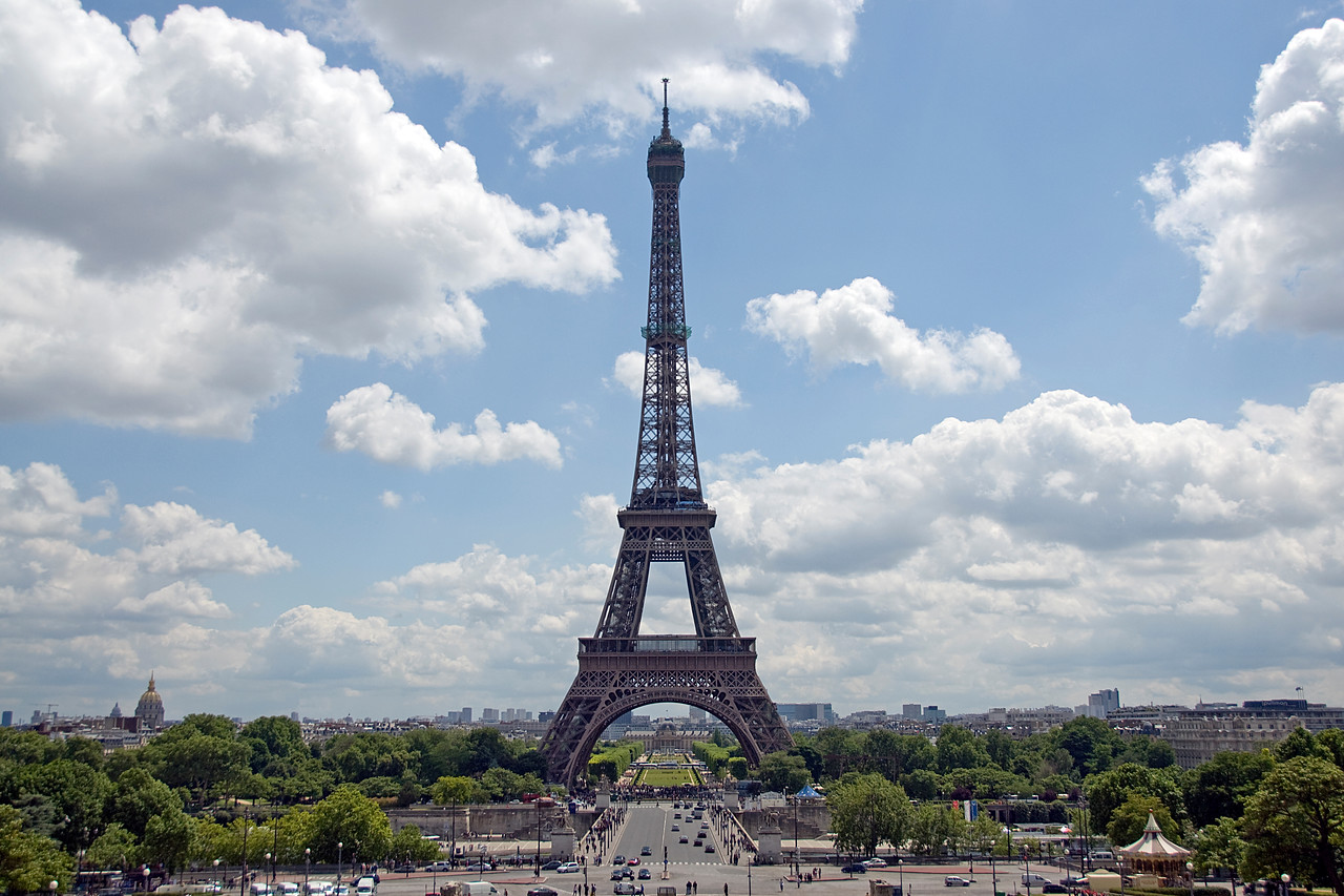 Isolated shot of the Eiffel Tower in Paris, France