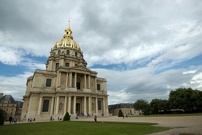 Wide shot of the Hotel des Invalides facade - Paris, France
