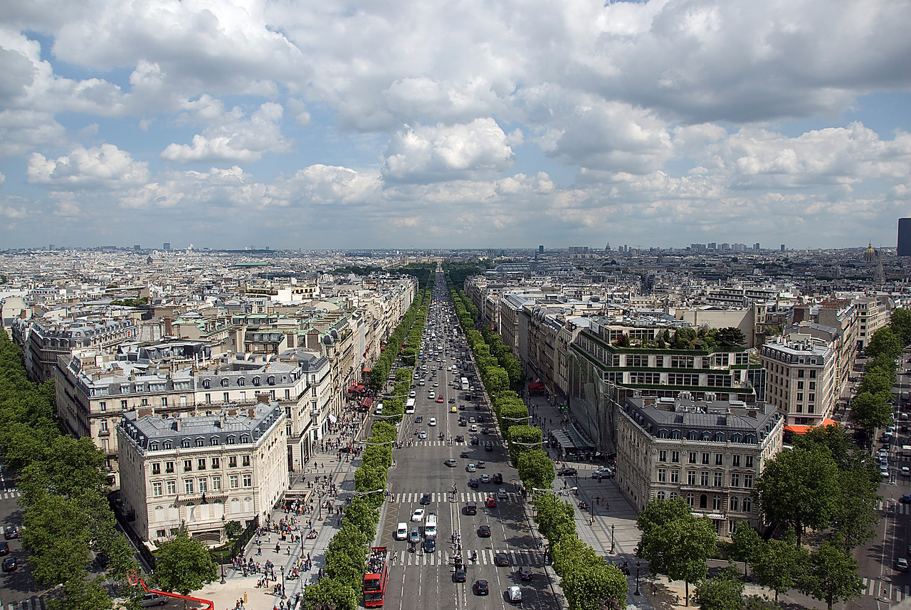 Looking down a main avenue in Paris, France