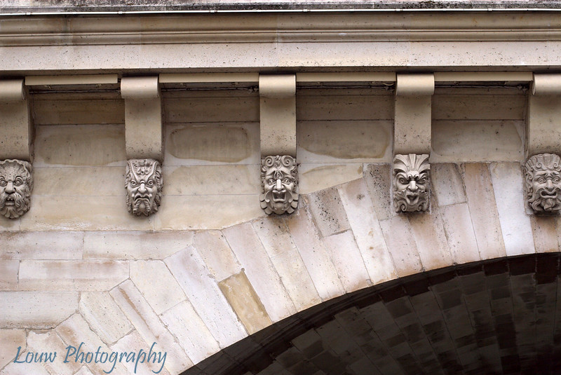 "Detail of sculptures on the <a target=""NEWWIN"" href=""http://en.wikipedia.org/wiki/Pont_Neuf"">Pont Neuf</a>, Paris' oldest bridge."