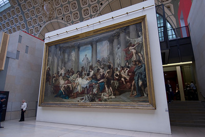 Large painting outside the Musée d'Orsay in Paris, France