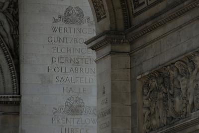 Details inside  Arc de Triomphe in Paris, France