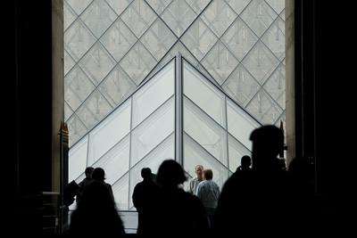 Tourists inside the Eiffel Tower - Paris, France