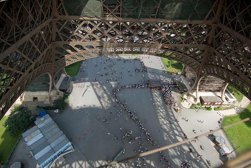 Tourists lining up to get inside the Eiffel Tower - Paris, France