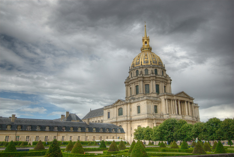 Gold Dome of Hotel des Invalides in Paris, France