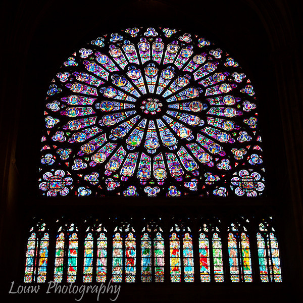"Stained glass windows (north facade), <a target=""NEWWIN"" href=""http://en.wikipedia.org/wiki/Notre_Dame_de_Paris"">Notre Dame de Paris</a>, Paris, France"