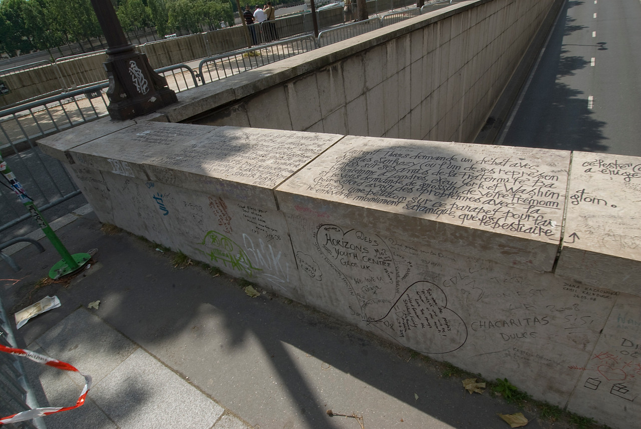 Graffiti on a bridge in Paris, France