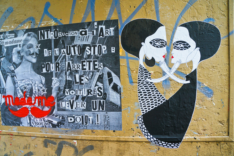 Fred Le Chevalier & Madame Mustache paste up in Paris, France