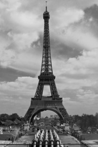 Europe-France-Paris-Eiffel-Tower-BW
